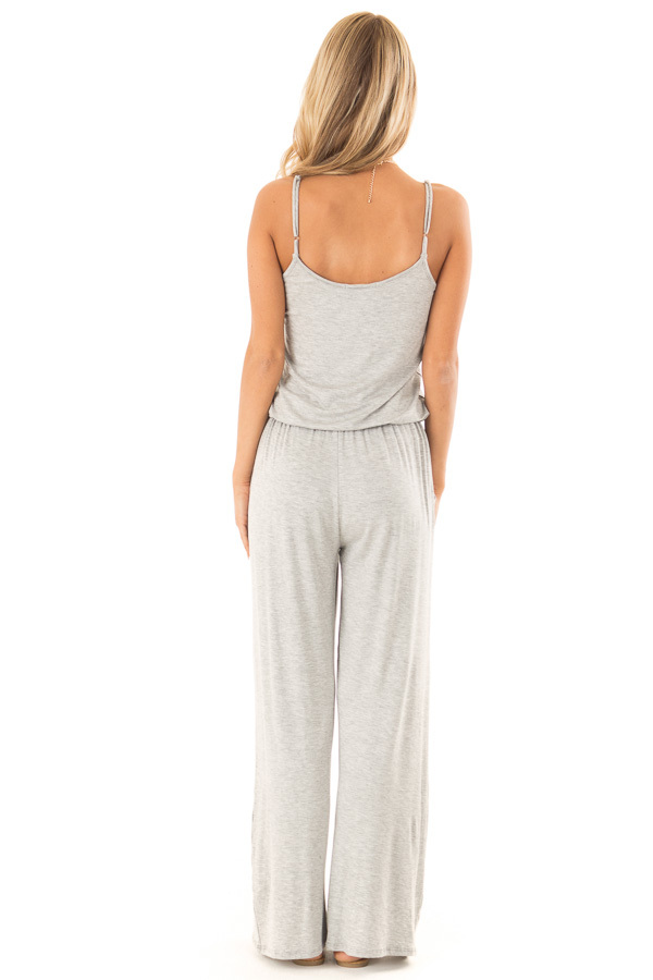 Heather Grey Sleeveless Jumpsuit with Waist Tie and Pockets back full body