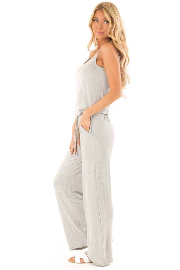 Heather Grey Sleeveless Jumpsuit with Waist Tie and Pockets side full body