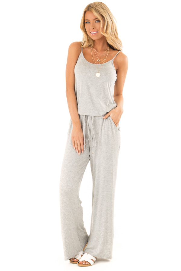 Heather Grey Sleeveless Jumpsuit with Waist Tie and Pockets front full body