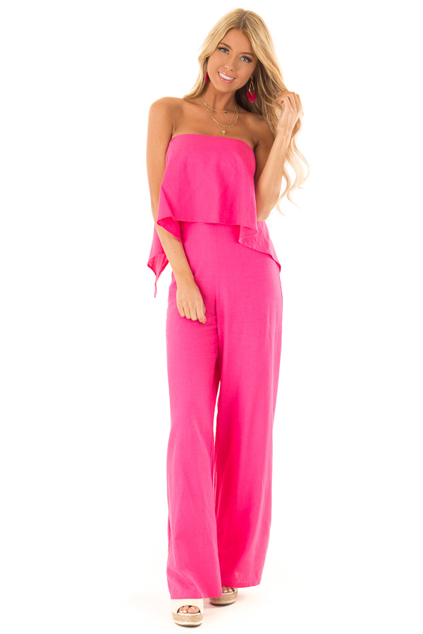 e8baa7d4602 ... Hot Pink Wide Leg Jumpsuit with Ruffle Top and Back Straps front full  body ...