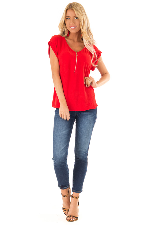 Candy Red Cap Sleeve Blouse with Gold Zipper Neckline front full body