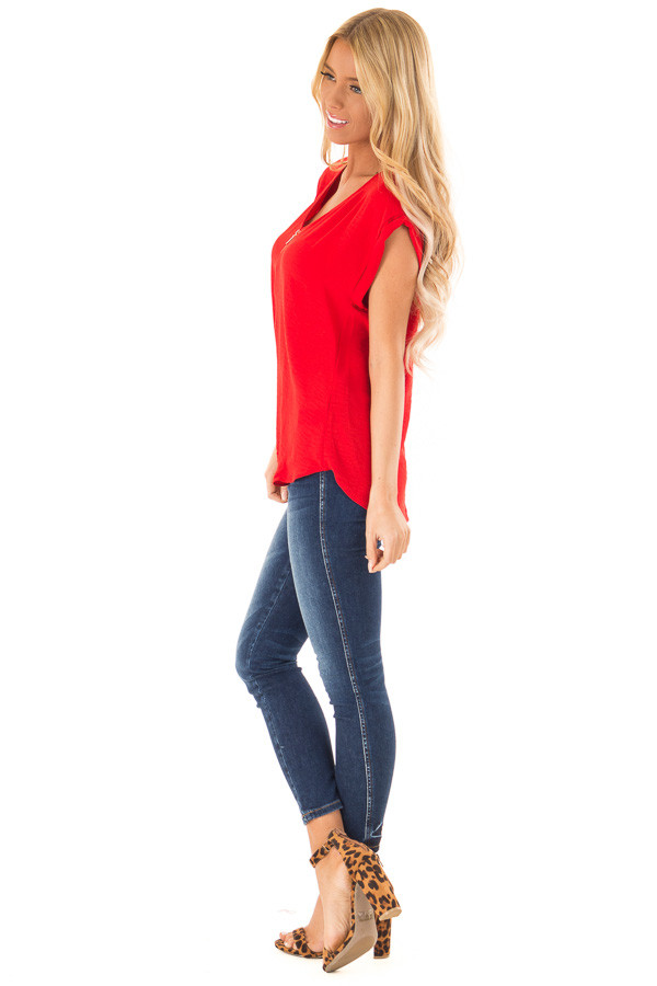 Candy Red Cap Sleeve Blouse with Gold Zipper Neckline side full body