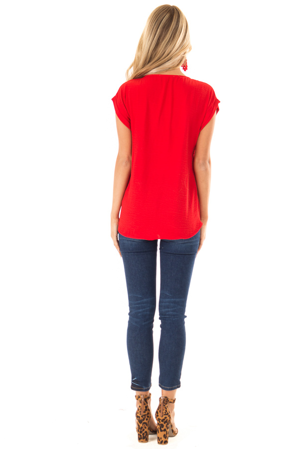 Candy Red Cap Sleeve Blouse with Gold Zipper Neckline back full body