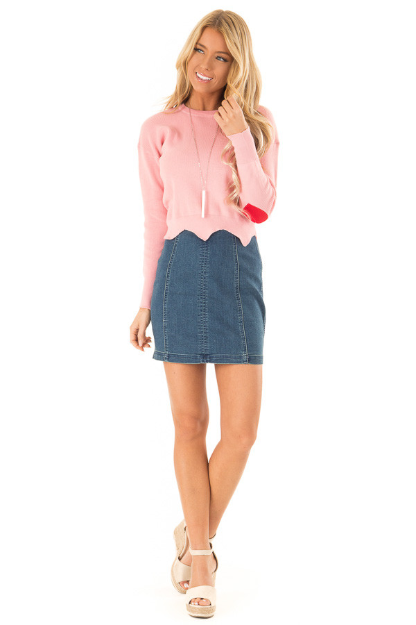 Baby Pink Cropped Sweater with Elbow Patches and Scallop Hem front full body