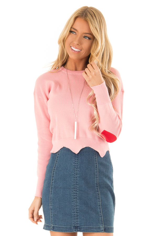 Baby Pink Cropped Sweater with Elbow Patches and Scallop Hem front close up