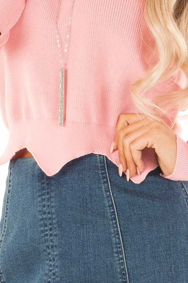 Baby Pink Cropped Sweater with Elbow Patches and Scallop Hem detail