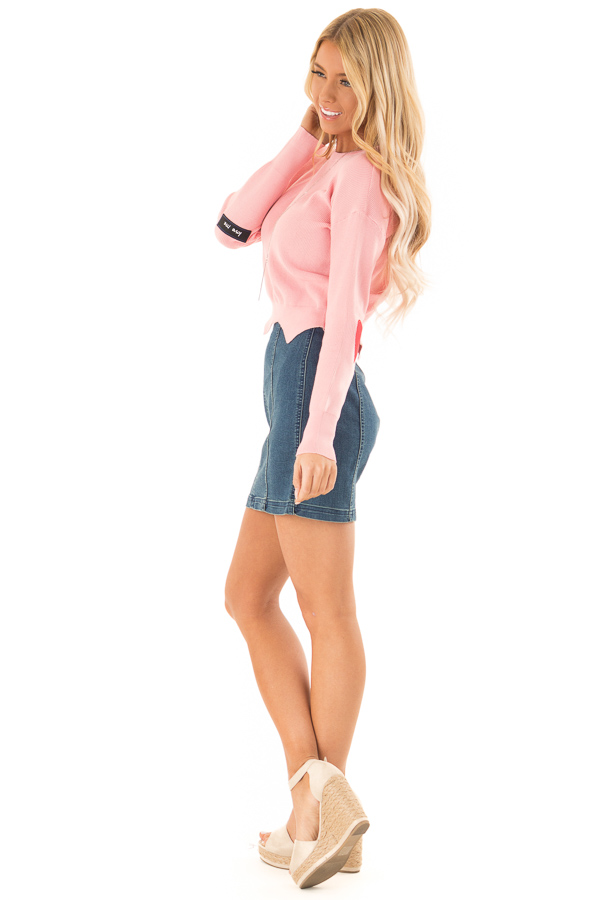 Baby Pink Cropped Sweater with Elbow Patches and Scallop Hem side full body