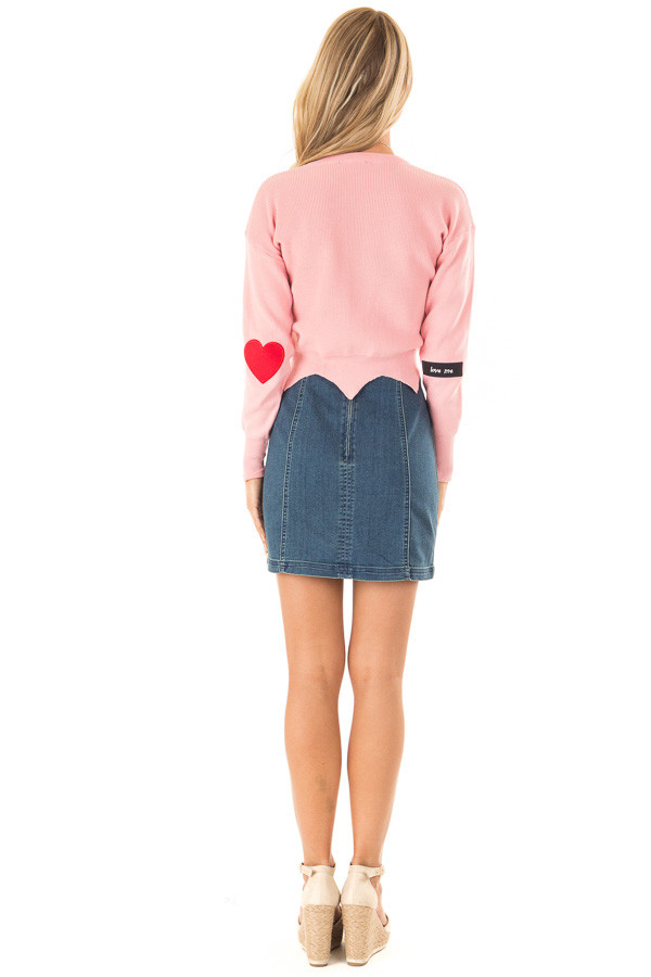 Baby Pink Cropped Sweater with Elbow Patches and Scallop Hem back full body