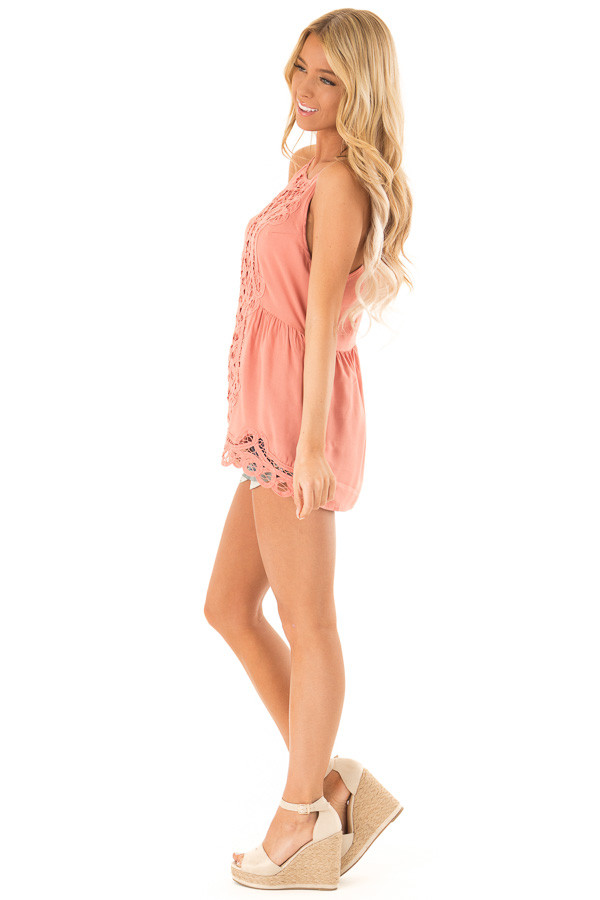 Dusty Salmon Tank Top with Crochet Front and Scalloped Hem side full body