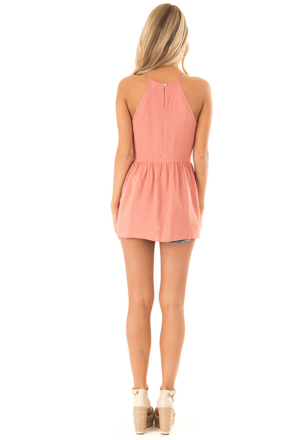 Dusty Salmon Tank Top with Crochet Front and Scalloped Hem back full body