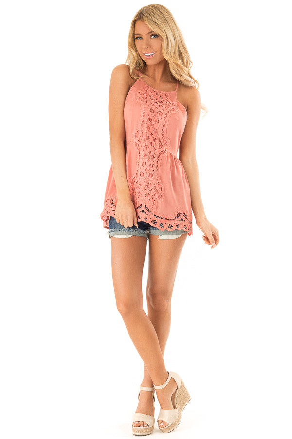 Dusty Salmon Tank Top with Crochet Front and Scalloped Hem front full body