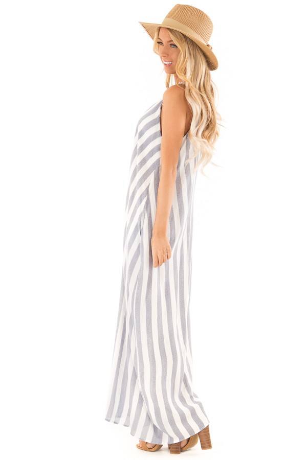 Faded Navy and Off White Striped Maxi Dress with Pockets side full body