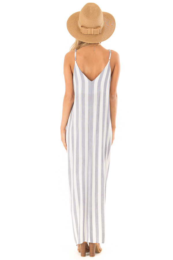 Faded Navy and Off White Striped Maxi Dress with Pockets back full body