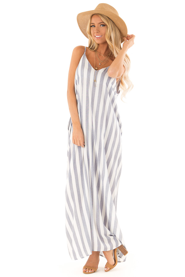 Faded Navy and Off White Striped Maxi Dress with Pockets front full body
