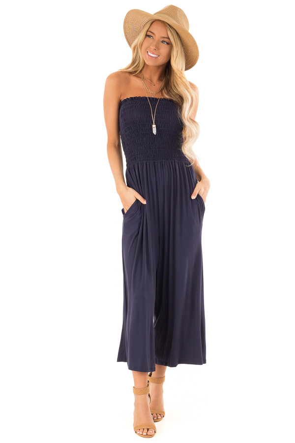 Navy Strapless Smocked Jumpsuit with Wide Cropped Legs front full body