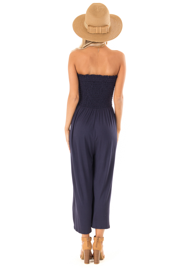 Navy Strapless Smocked Jumpsuit with Wide Cropped Legs back full body