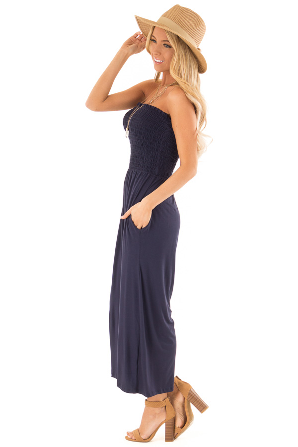 Navy Strapless Smocked Jumpsuit with Wide Cropped Legs side full body
