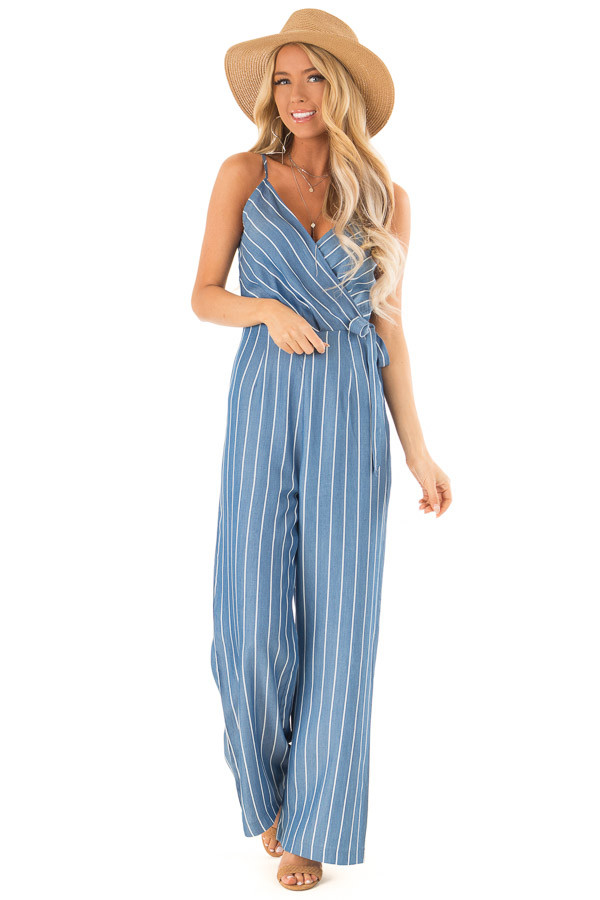 Denim Blue Striped Jumpsuit with Waist Tie Detail front full body