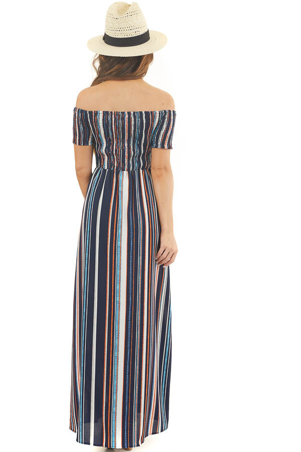 Multicolor Striped Off Shoulder Romper with Maxi Overlay back full body