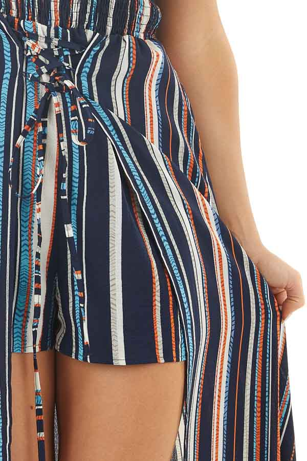 Multicolor Striped Off Shoulder Romper with Maxi Overlay detail