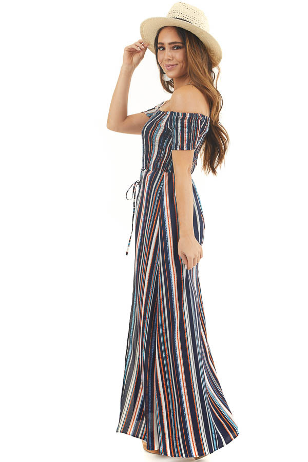 Multicolor Striped Off Shoulder Romper with Maxi Overlay side full body