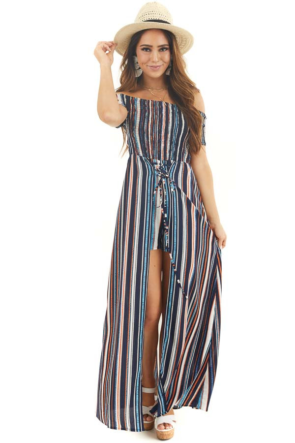 Multicolor Striped Off Shoulder Romper with Maxi Overlay front full body