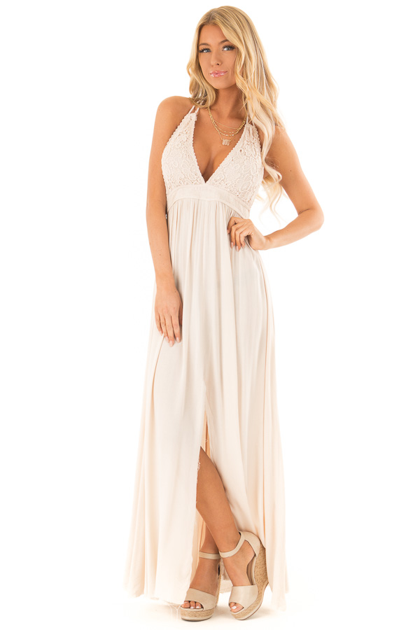1fd7b214923 ... Cream Halter Top Maxi Dress with Lace Details front full body ...