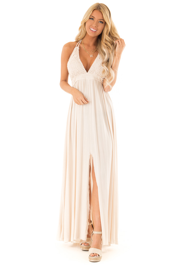 5b4e6fcb4f6 Cream Halter Top Maxi Dress with Lace Details - Lime Lush Boutique