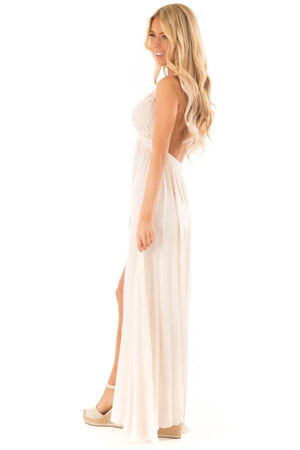 359587e00de ... Cream Halter Top Maxi Dress with Lace Details side full body ...