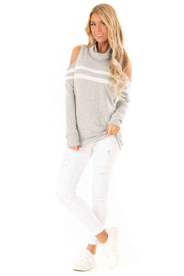 Heather Grey Cold Shoulder Turtle Neck Top with Long Sleeves front full body