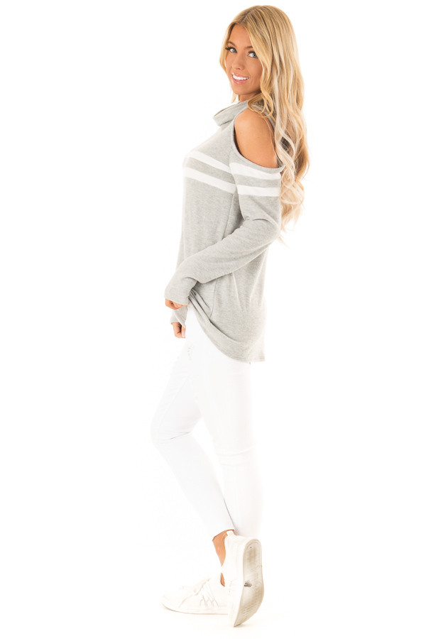 Heather Grey Cold Shoulder Turtle Neck Top with Long Sleeves side full body