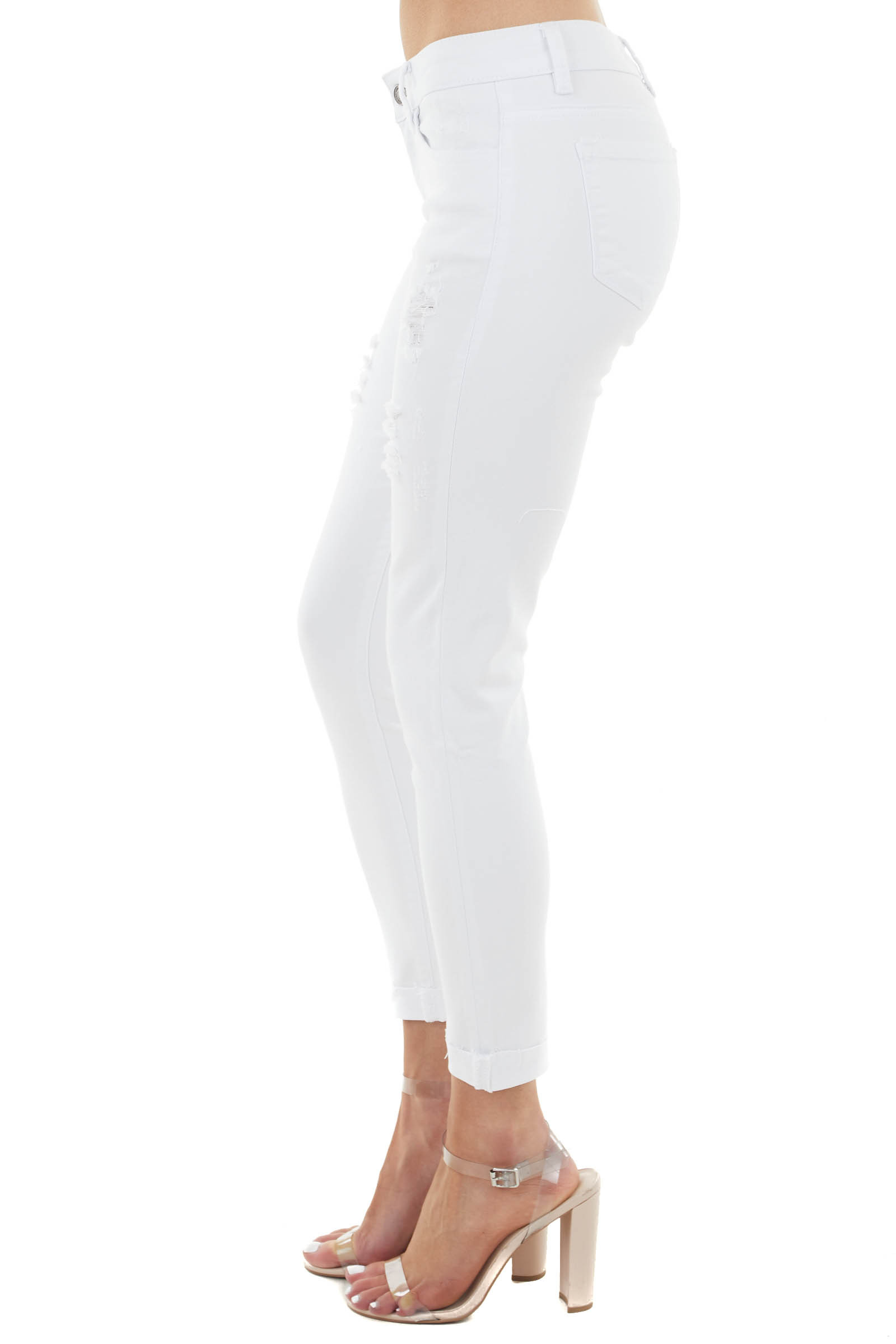 Snow White Distressed Jeans with Raw Folded Cuff