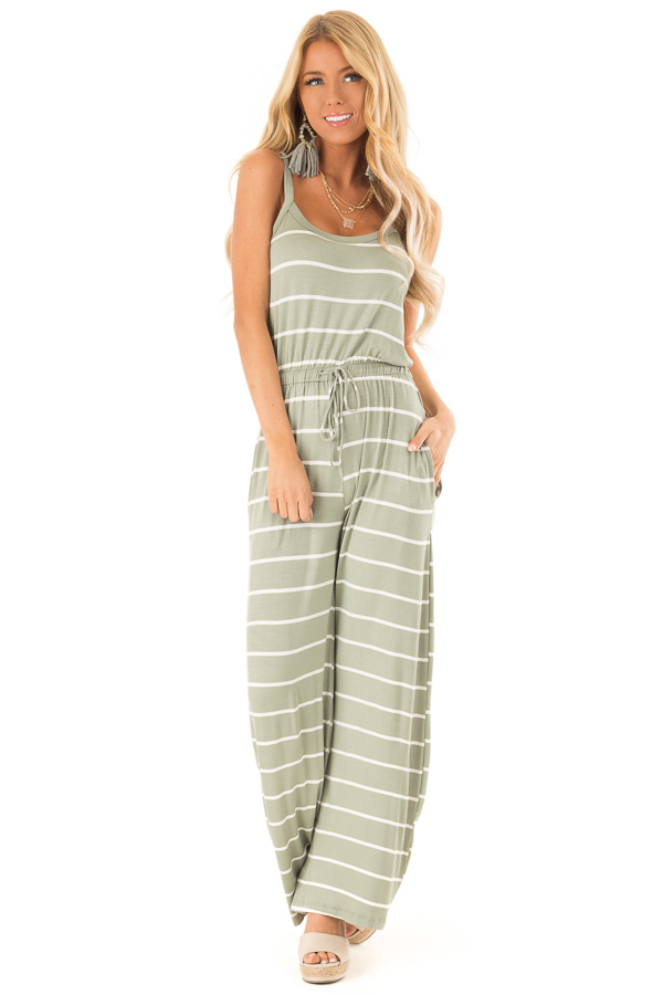 549e770d4247 Sage Striped Sleeveless Jumpsuit with Front Tie - Lime Lush Boutique