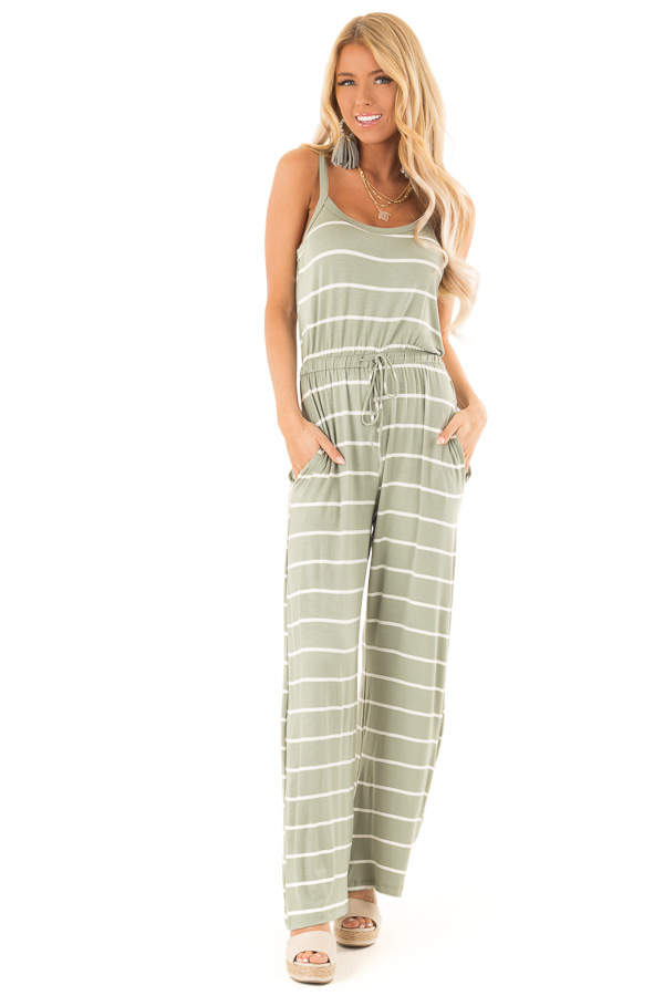 6e80e767b99d ... Sage Striped Sleeveless Jumpsuit with Front Tie front full body ...