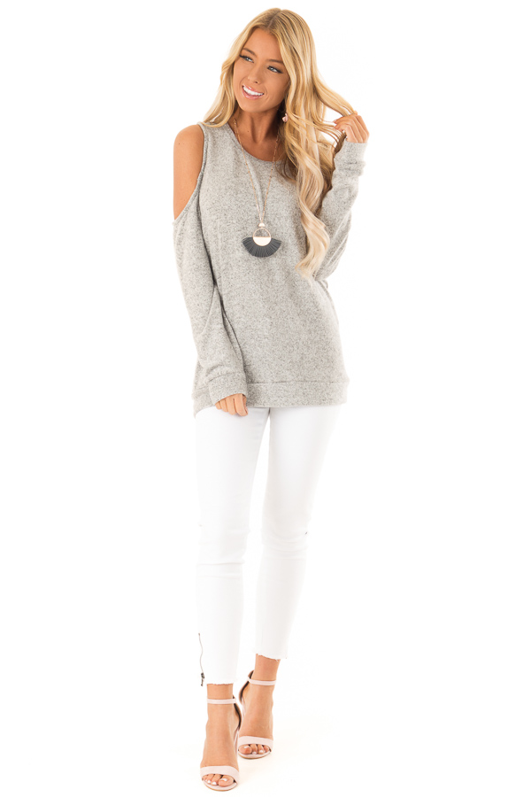 Heather Grey Super Soft Cold Shoulder Long Sleeve Top front full body