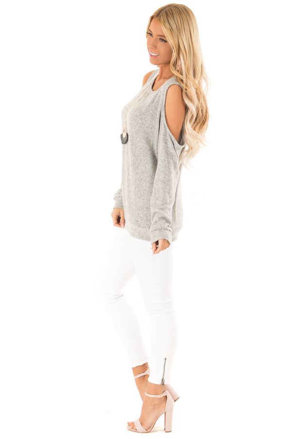 Heather Grey Super Soft Cold Shoulder Long Sleeve Top side full body