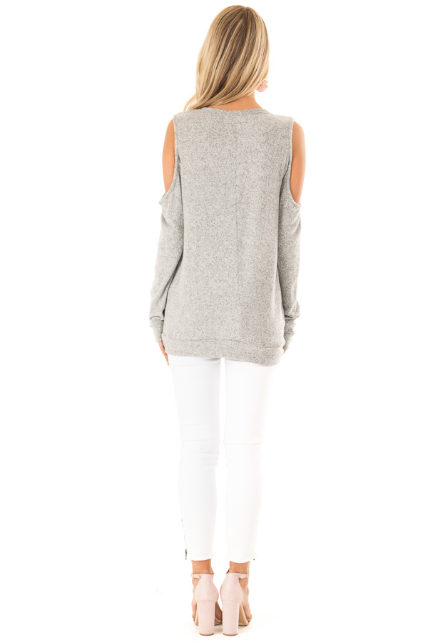 Heather Grey Super Soft Cold Shoulder Long Sleeve Top back full body