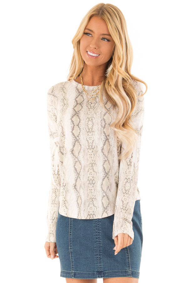 4210d81d8b3 Taupe Snake Skin Print Top with Long Sleeves - Lime Lush Boutique