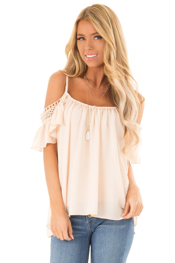 Peach Off the Shoulder Top with Lace Detail front close up