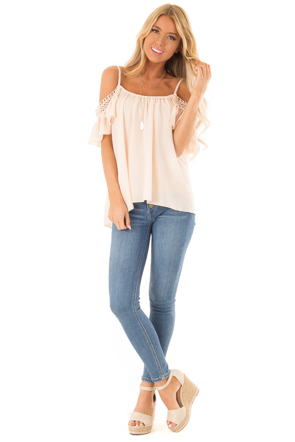 Peach Off the Shoulder Top with Lace Detail front full body
