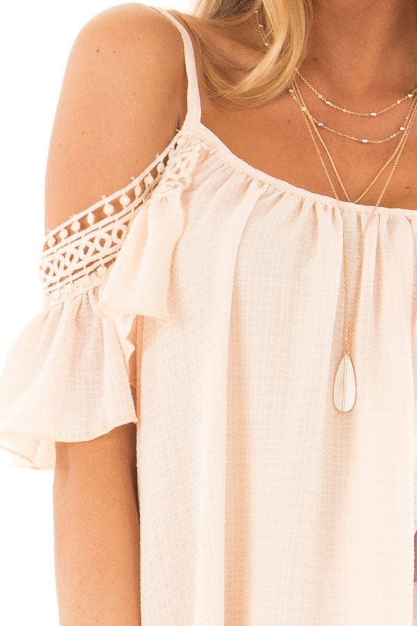 Peach Off the Shoulder Top with Lace Detail detail