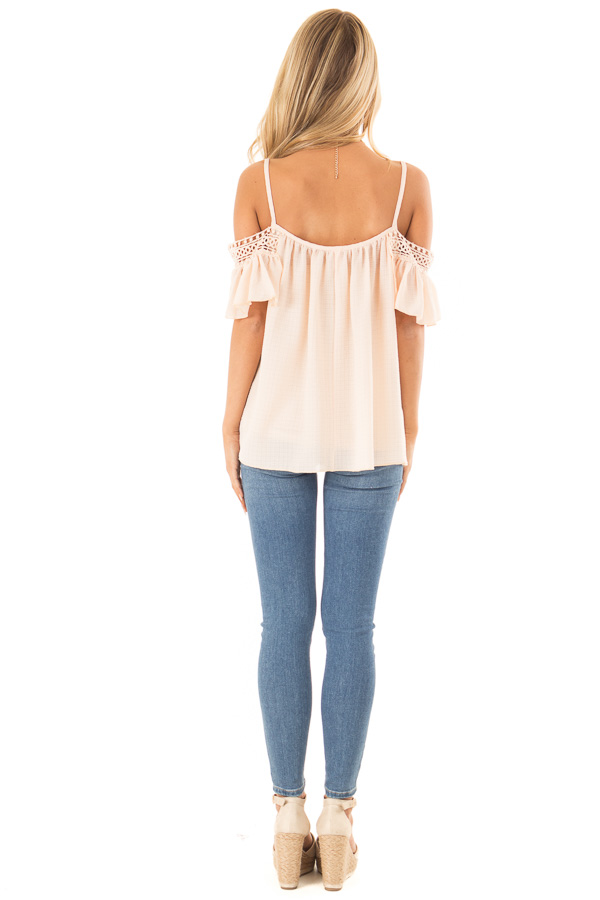 Peach Off the Shoulder Top with Lace Detail back full body