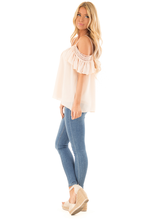 Peach Off the Shoulder Top with Lace Detail side full body