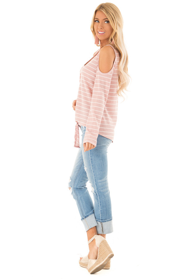 Blush and Ivory Striped Cold Shoulder Waffle Knit Top side full body