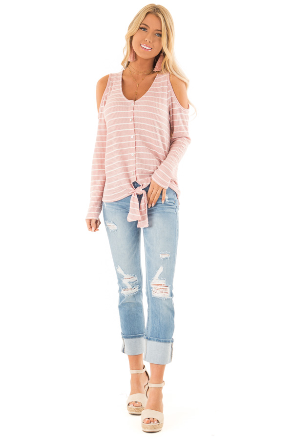 Blush and Ivory Striped Cold Shoulder Waffle Knit Top front full body