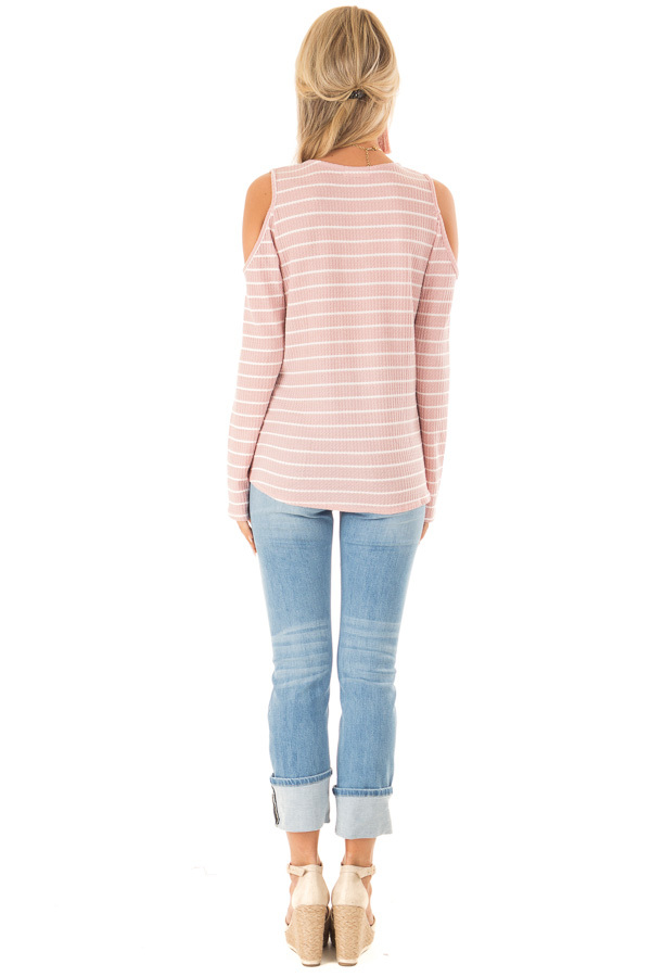 Blush and Ivory Striped Cold Shoulder Waffle Knit Top back full body