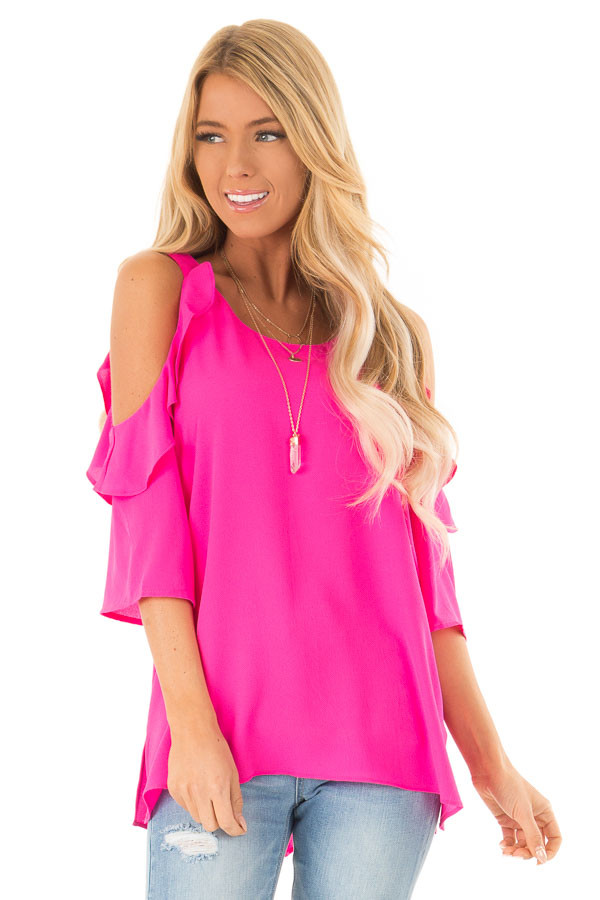 Hot Pink Cold Shoulder 3/4 Sleeve Top with Ruffle Details front close up