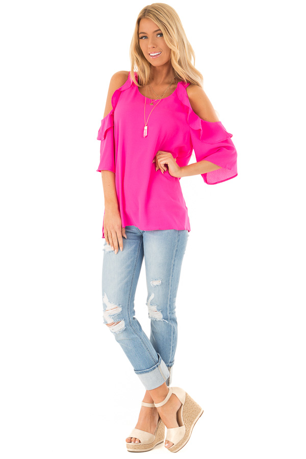 Hot Pink Cold Shoulder 3/4 Sleeve Top with Ruffle Details front full body