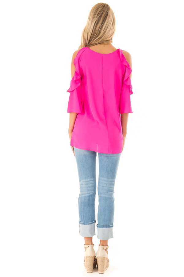 Hot Pink Cold Shoulder 3/4 Sleeve Top with Ruffle Details back full body