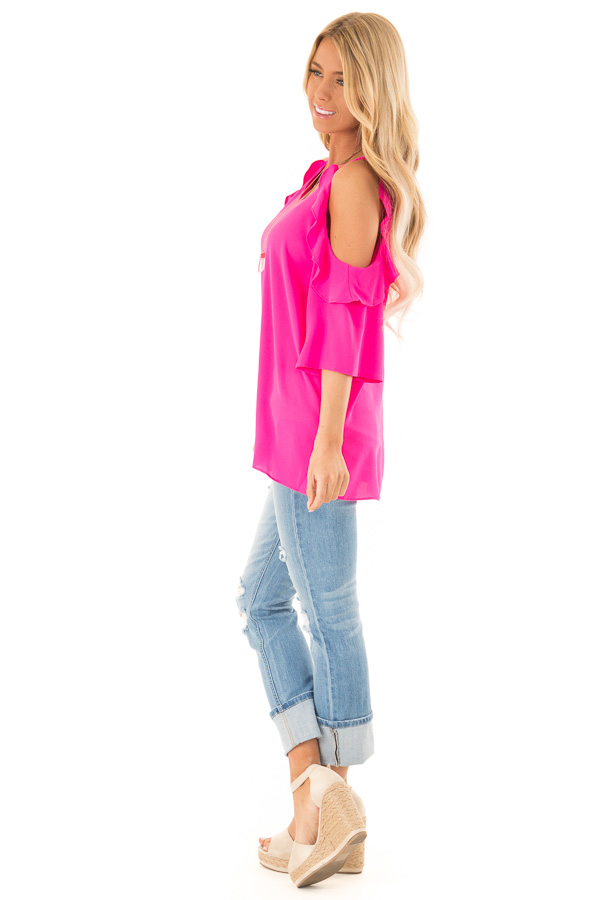 Hot Pink Cold Shoulder 3/4 Sleeve Top with Ruffle Details side full body